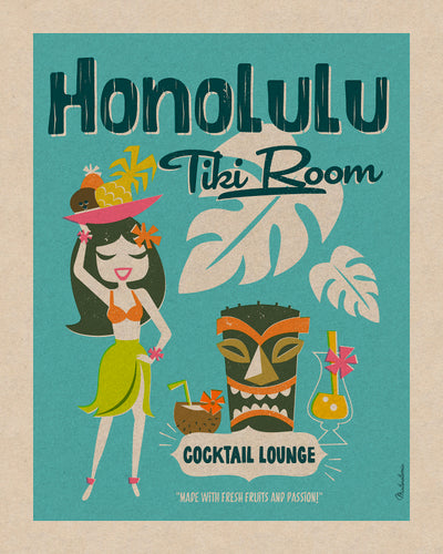Affiche déco 'Honolulu Tiki Room'