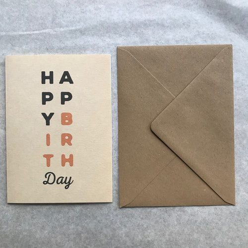 Carte double + enveloppe - Happy Birthday (édition Le Rocketship)