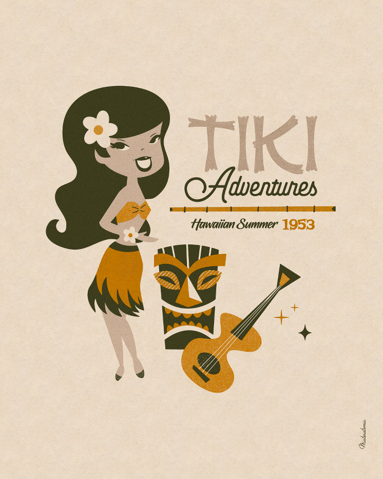 Affiche déco 'Tiki Adventures Hawaiian Summer'