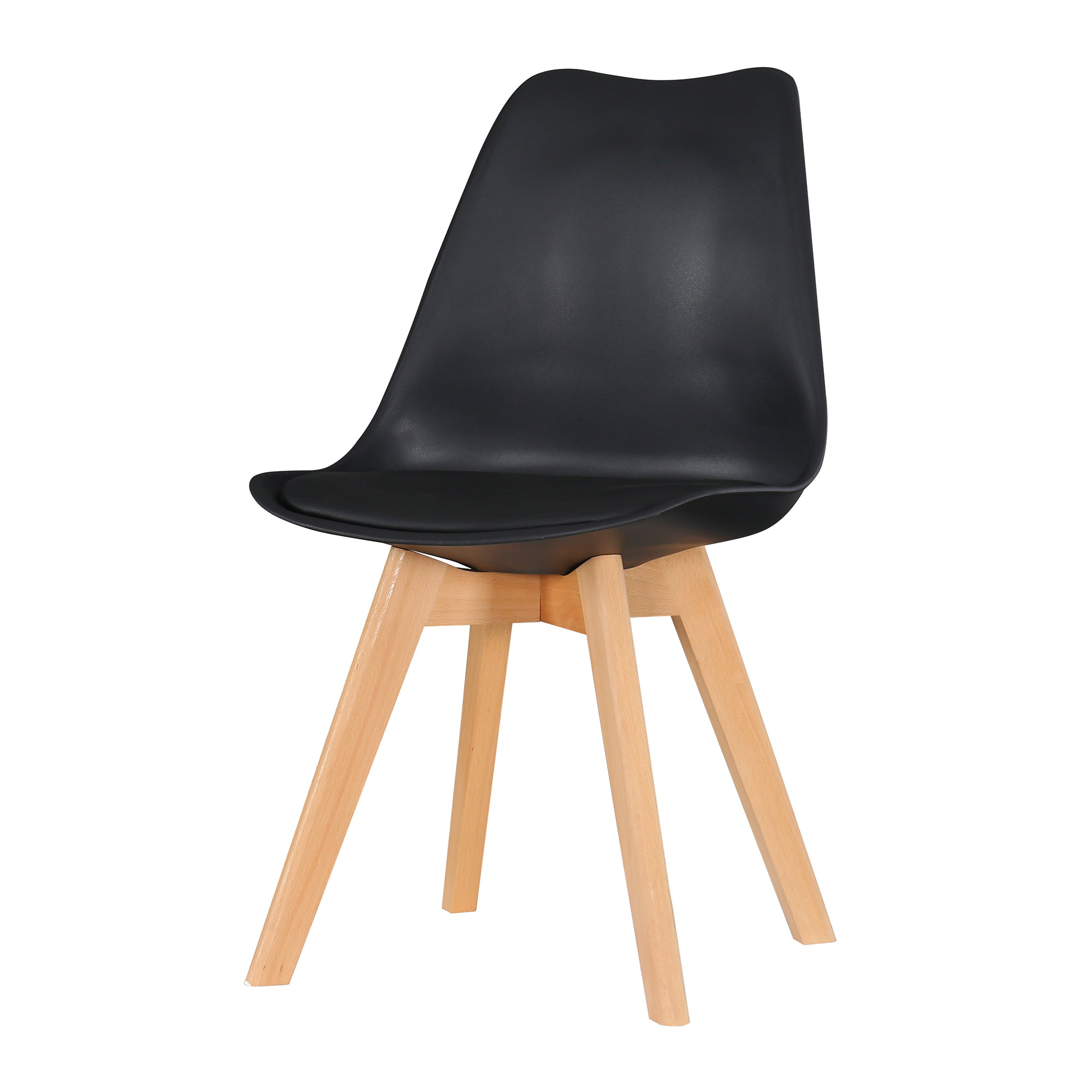 Eames Style Dining Chairs Black with padded seat - Fervor + Hue