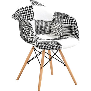 Eames Style Studio Chairs - Patchwork Black/White