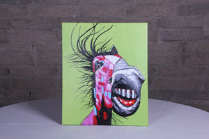 """Crazy Horse"" hand painted animal wall art on canvas"