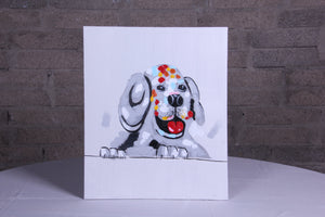 """Happy Chap"" hand painted animal wall art on canvas"