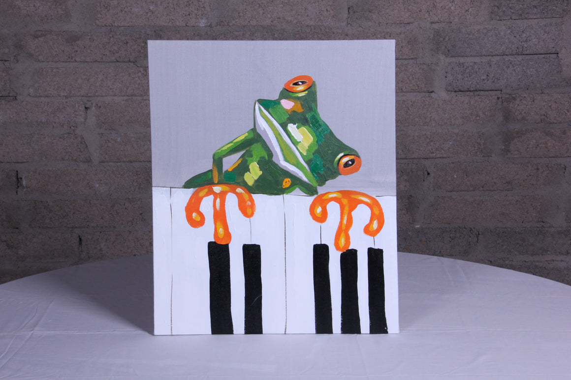 Froggy Tunes Oil Painting