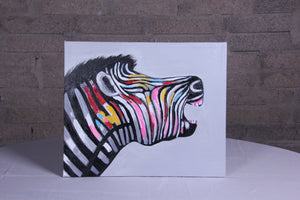 """Zebra Call"" hand painted animal wall art on canvas"