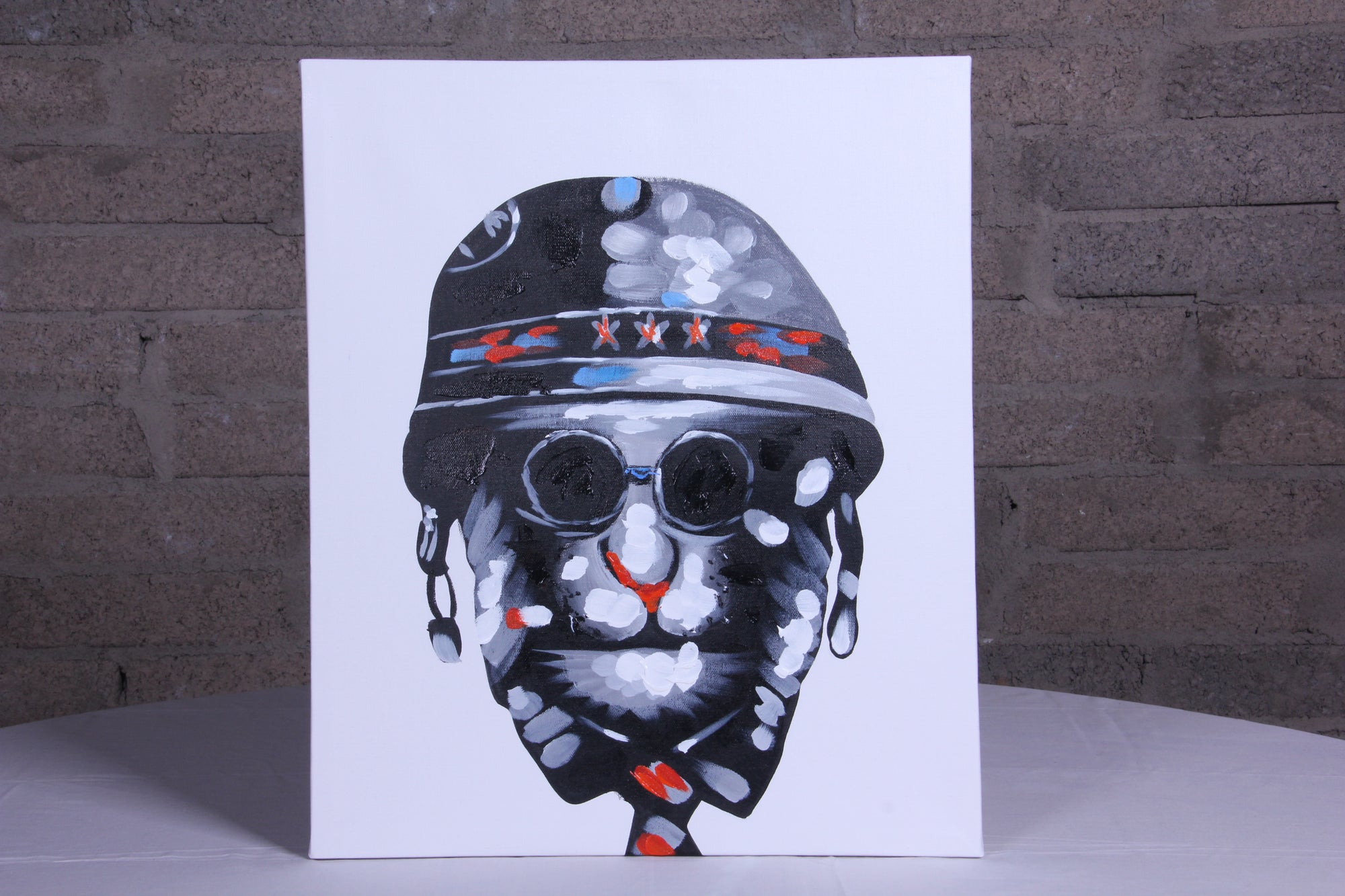 Army Guy Star Helmet Oil Painting - Fervor + Hue