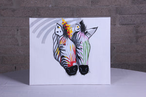 """Seeing Double Zebra"" hand painted animal wall art on canvas"