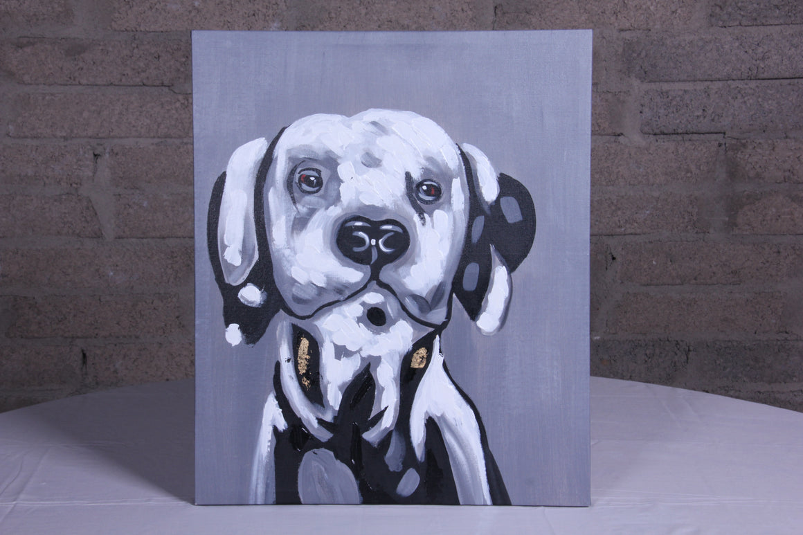 Dog Black White Oil Painting