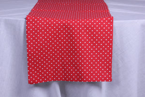 Merry polka dot red table runner