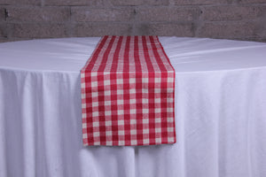 Merry check red table runner