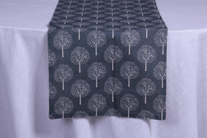 Frosty trees grey table runner