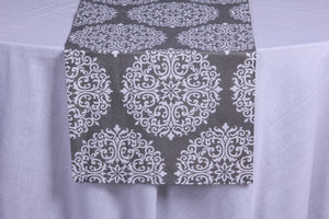 Frosty sparkle grey table runner
