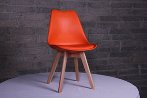 Eames Style Dining Chairs Orange with padded seat - Back in stock this August Pre-order now