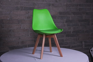 Eames Style Dining Chairs Green with padded seat - Back in stock this August Pre-order now