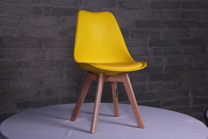 Eames Style Dining Chairs Yellow with padded seat - Back in stock this August Pre-order now