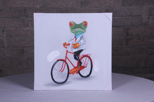 """Frog On His Bike"" hand painted animal wall art on canvas"