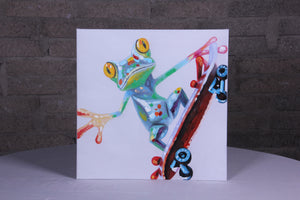 """Frog Lift Off"" hand painted animal wall art on canvas"