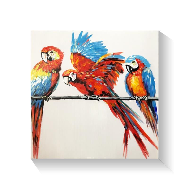 Parrot Parade Hand painted Wall Art On Canvas - Fervor + Hue