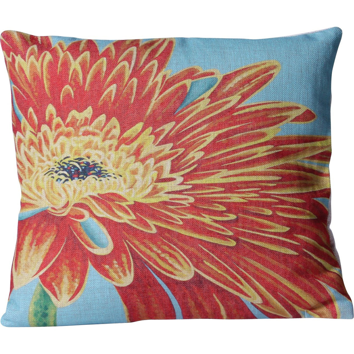 Sunflower On Blue Cushion