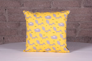 Cotton Fox Trot Yellow Grey Cushion