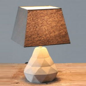Rustic Natural Grey Table Lamp Cube Shade