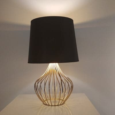 Geo Cage Table Lamp Gold Black - Fervor + Hue