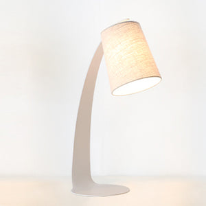 Metro Metal Fabric Table Lamp White