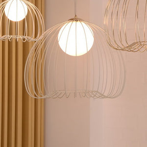 Whisper Glass White Metal Ceiling Light Pendant L