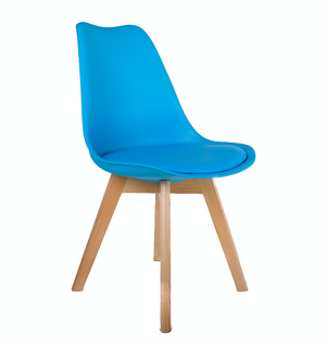 Eames Style Dining Chairs Aqua Blue with padded seat - Fervor + Hue