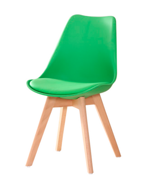 Eames Style Dining Chairs Green with padded seat - Available Now