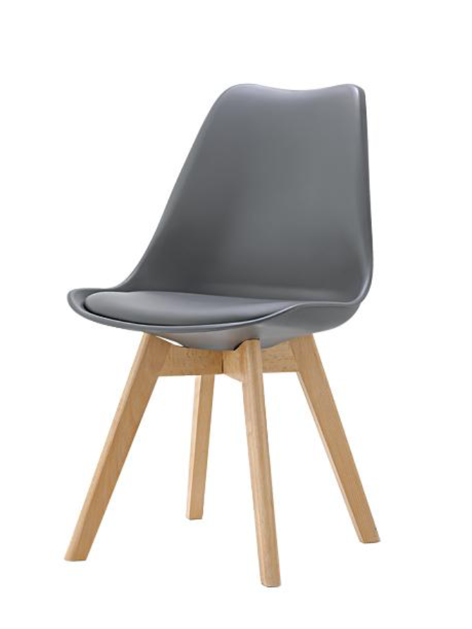 Eames Style Dining Chairs Grey with padded seat - Fervor + Hue