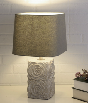 Cube Natural Grey Table Lamp