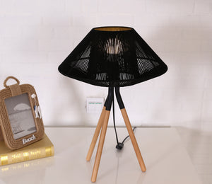 Rope Mesh Tripod Table Lamp Black