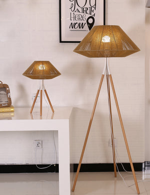 Rope Mesh Tripod Floor Lamp Brown - Fervor + Hue