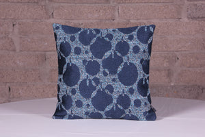 Tapestry Weave Floral Denim Blue Cushion