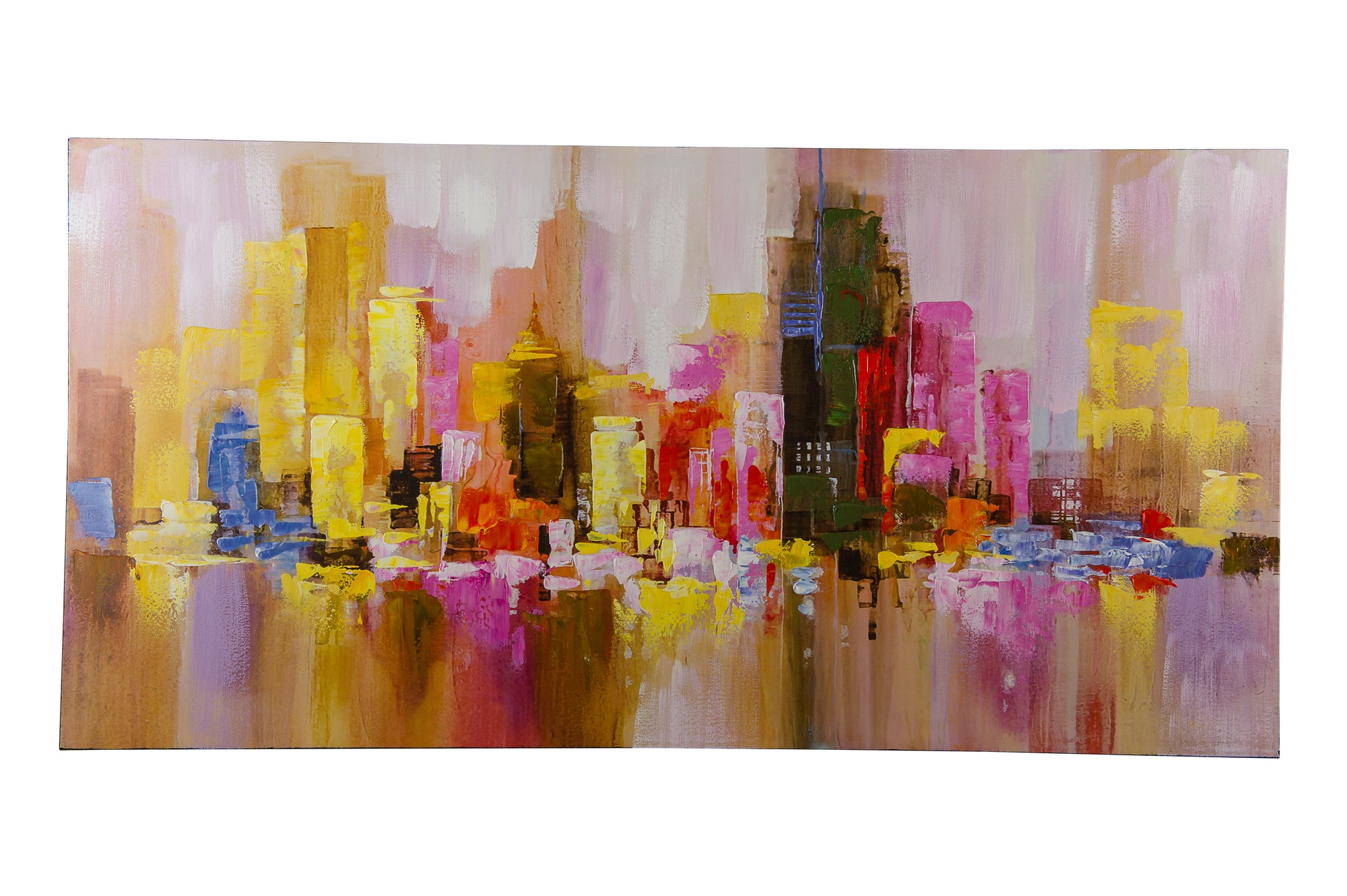 """Misty Cityscape"" Hand painted wall art on canvas - Fervor + Hue"