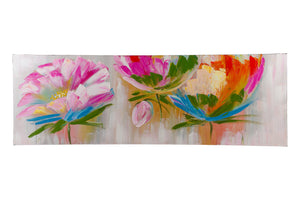 """Exotic Floral Pink"" Hand painted wall art on canvas"