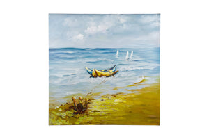 """Summer Day Boats"" Hand painted wall art on canvas"