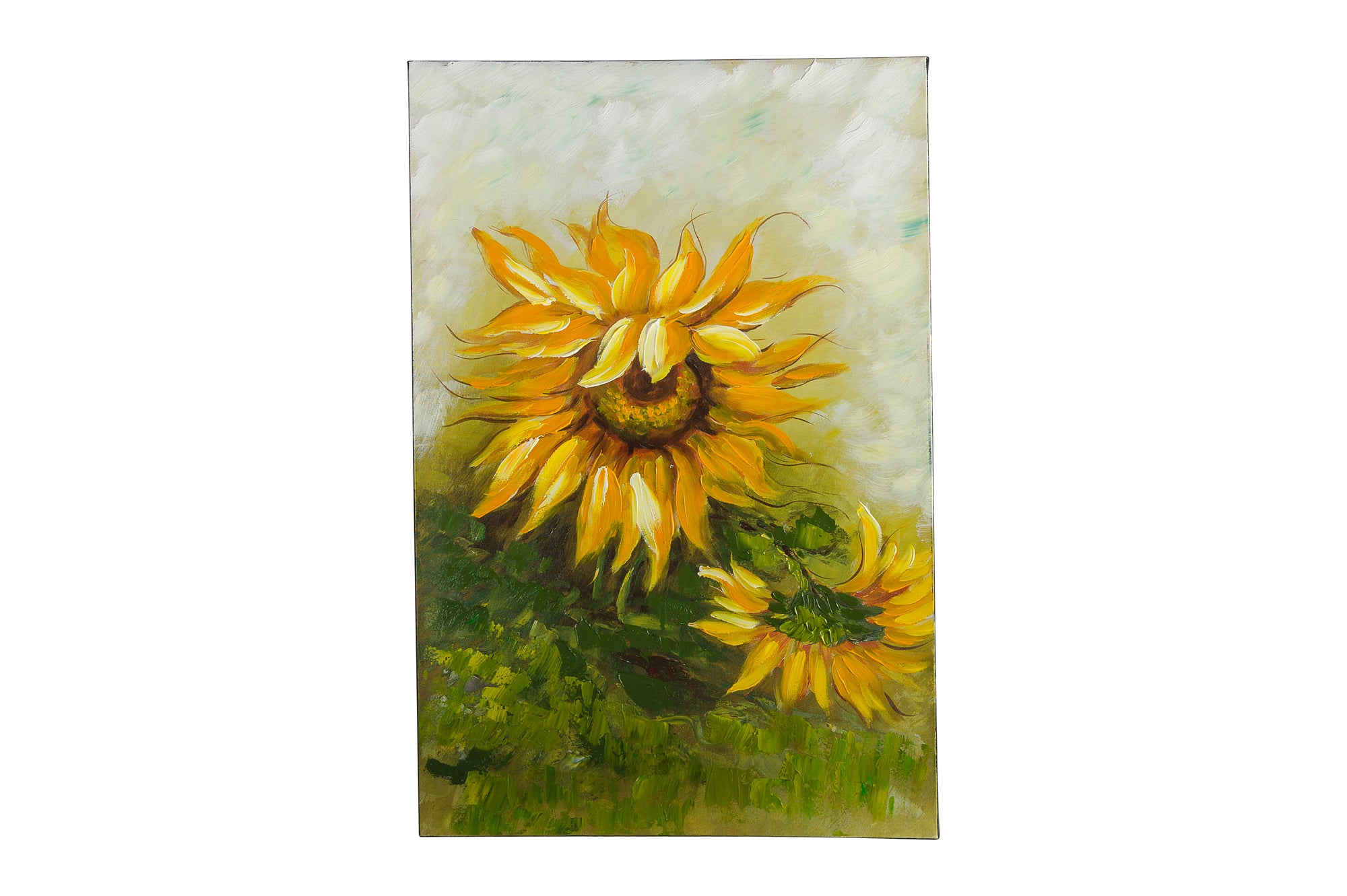 sunflower pair in the breeze hand painted wall art on canvas - Fervor + Hue