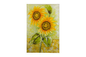 """Sunflower Pair In The Sunshine"" Hand Painted Wall Art On Canvas"