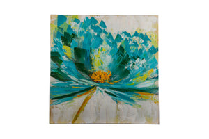 """Exotic Floral Aqua"" Hand painted wall art on canvas"