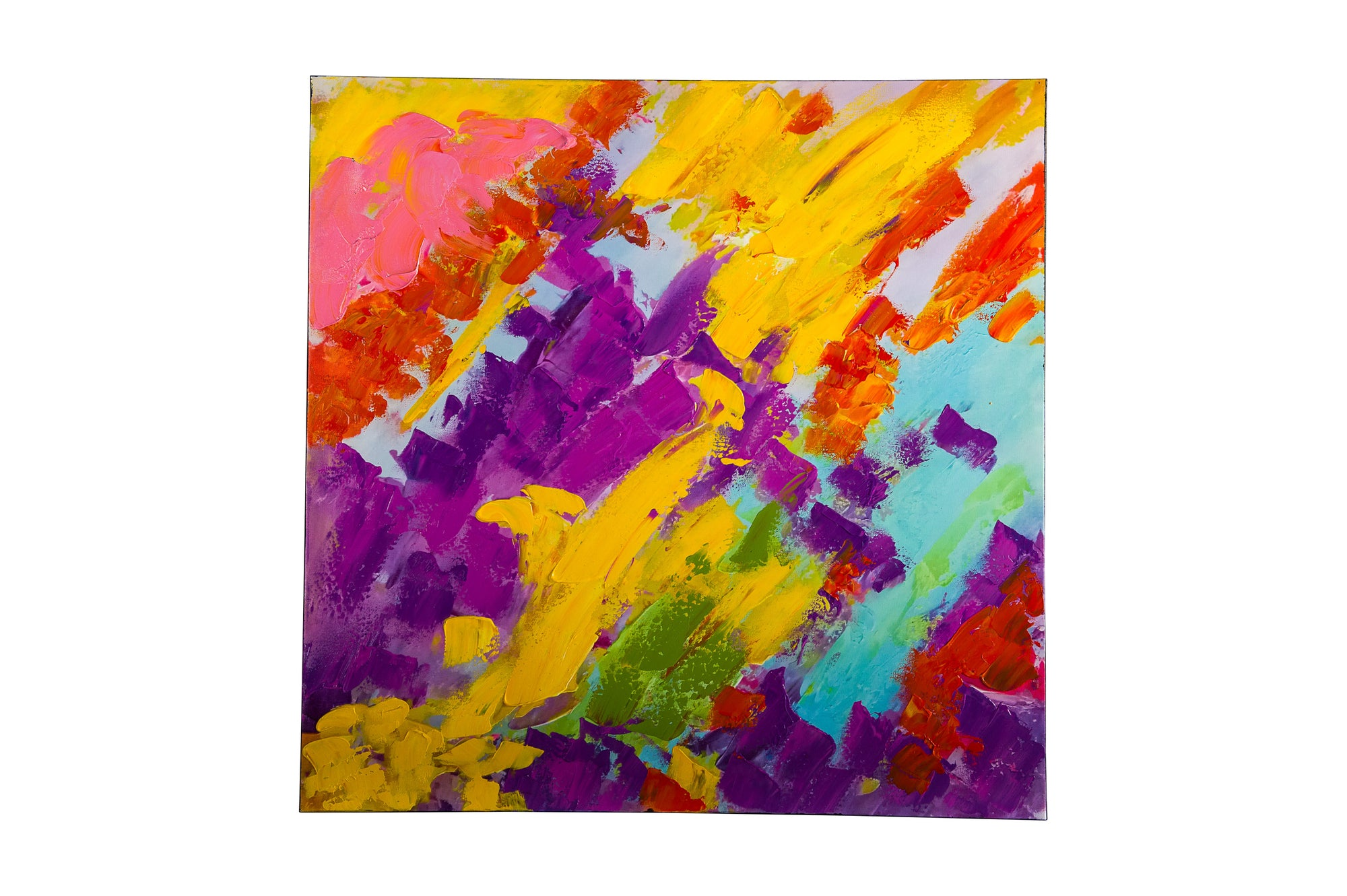 hue multi yellow abstract hand painted wall art on canvas - Fervor + Hue