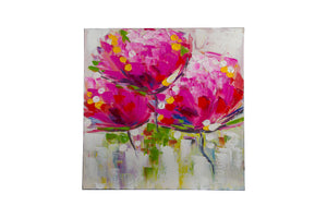 """Exotic Floral Purple"" Hand painted wall art on canvas"