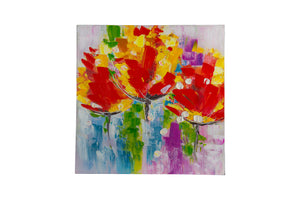 """Exotic Floral orange"" Hand painted wall art on canvas"