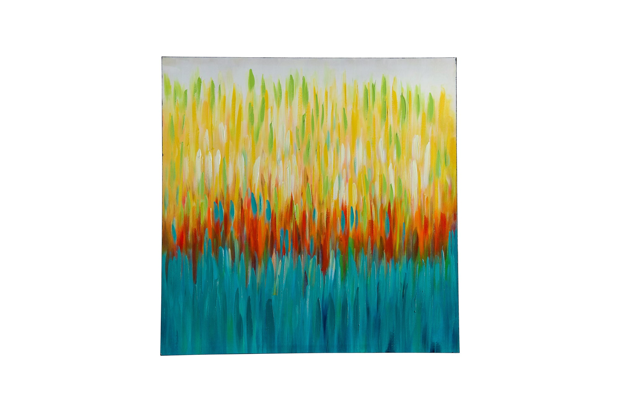 colour stream multi c hand painted wall art on canvas - Fervor + Hue