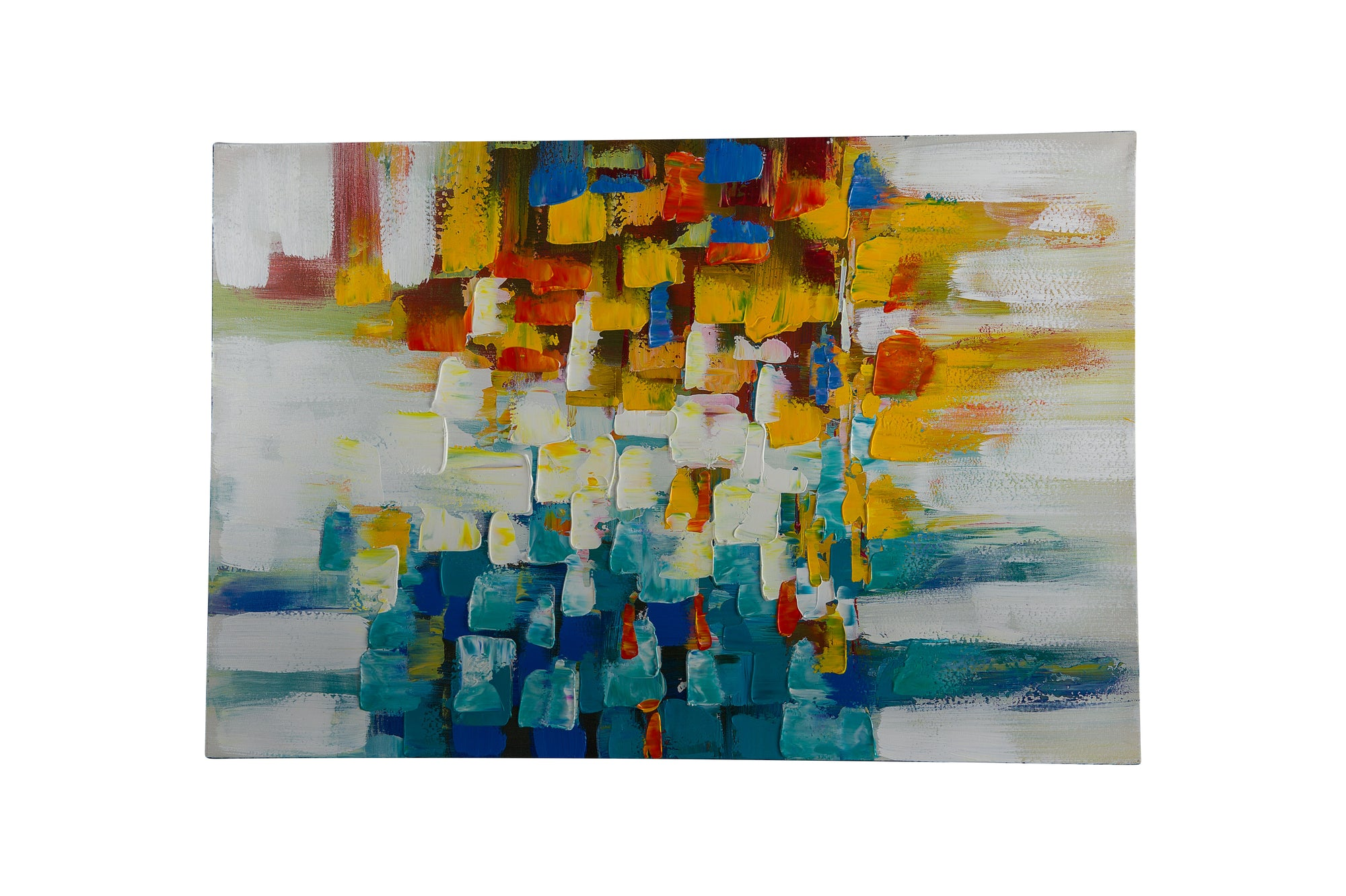 """Colour Cubes Blue Multi"" Hand Painted Wall Art On Canvas - Fervor + Hue"
