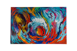"""Motion Blue Abstract"" HAND PAINTED WALL ART ON CANVAS"