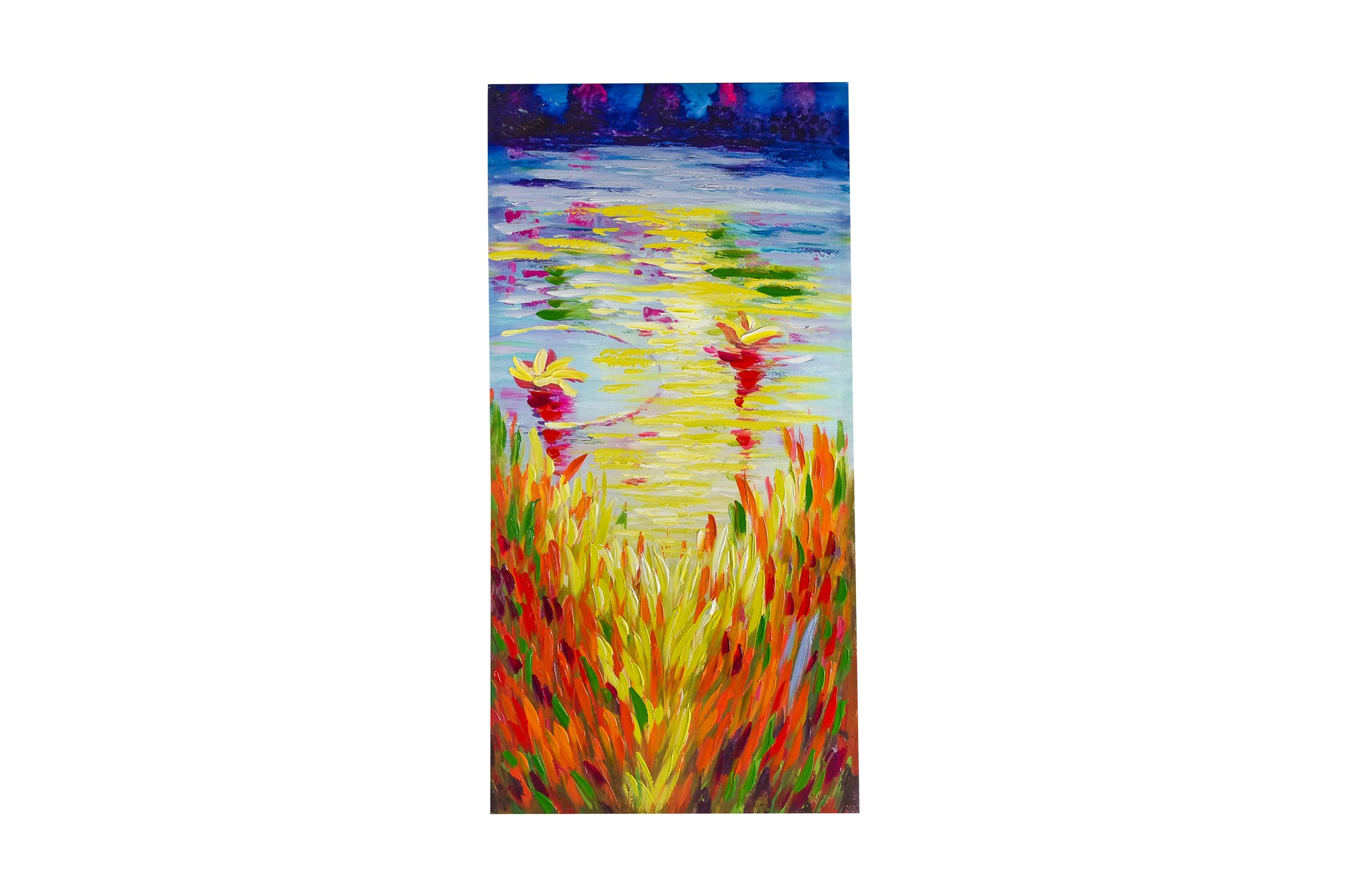 rippling lakeside colour hand painted wall art on canvas - Fervor + Hue