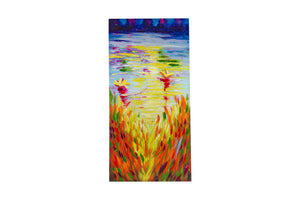 """Rippling Lakeside Colour"" Hand painted wall art on canvas"