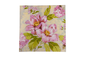 """Vintage Floral Soft Pink"" Hand painted wall art on canvas"